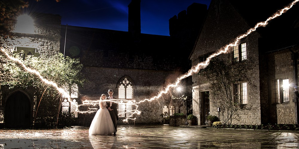 Special effect wedding photography, real sparkler wedding photography